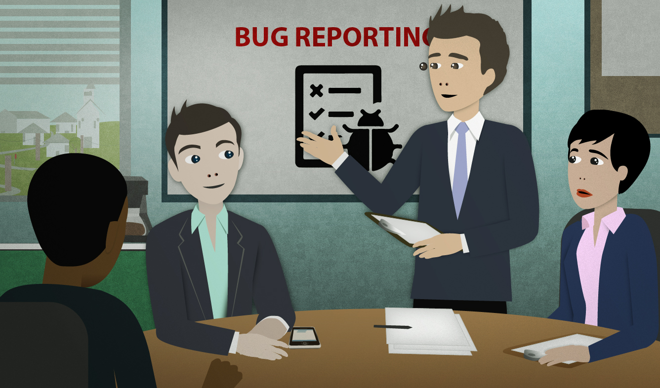 English Lesson: OK. Let's move on and discuss our bug reporting process.