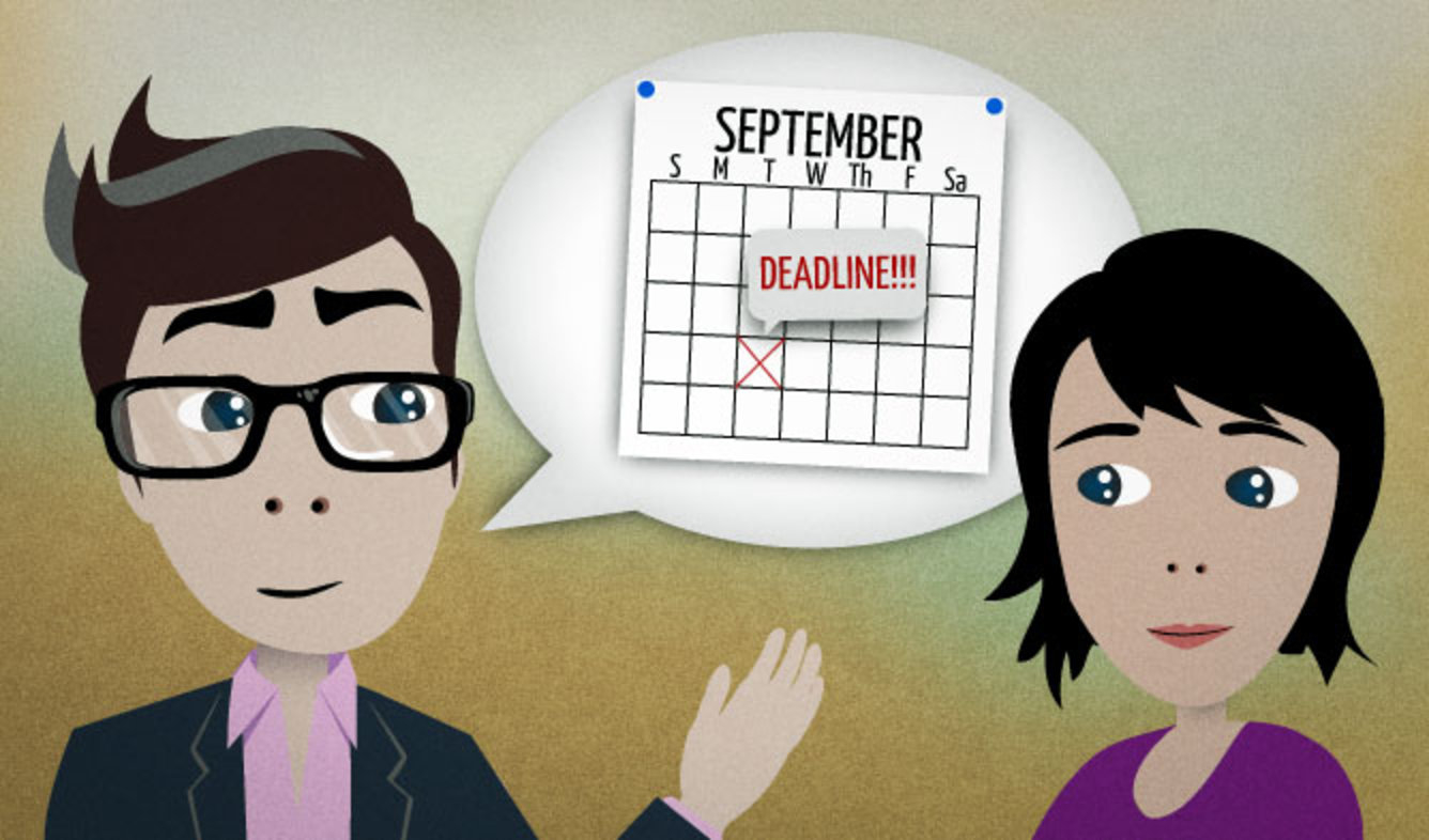 English Lesson: We can be fined tens of thousands of dollars if we miss one of the filing deadlines.
