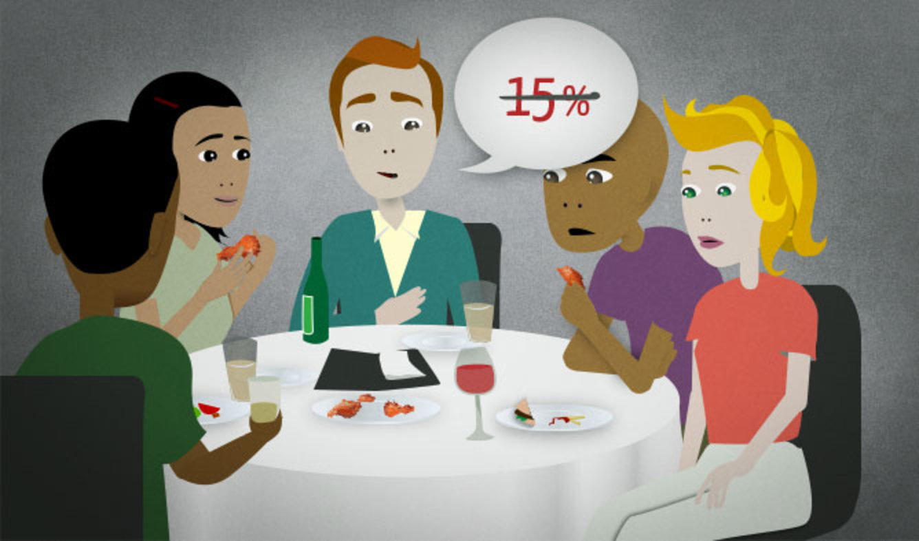 English Lesson: I base my tips on how good the service is.