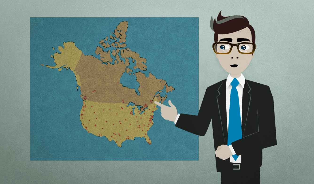 English Lesson: We have over 300 locations across the U.S. and Canada.