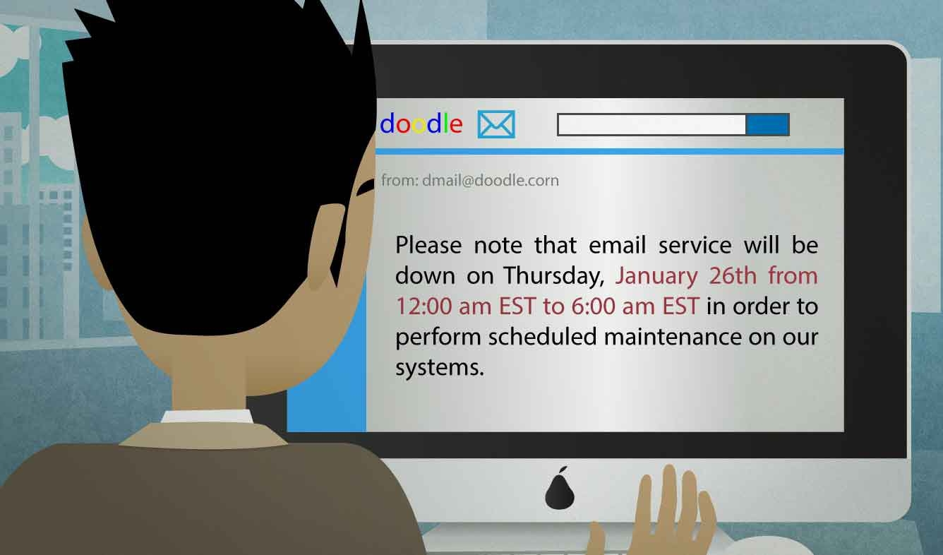 English Lesson: Please note that email service will be down on Thurday, January 26th from 12:00 am EST to 6:00 am EST in order to perform scheduled maintenance on our systems.